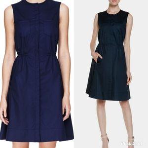 Theory 0 Navy Blue Shirt Dress Pockets KETAN